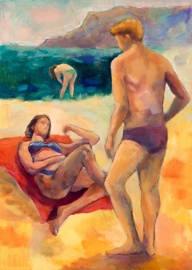 Люди пляжа иллюстрация вектора