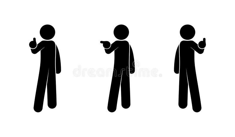 Люди показывают жесты рукой, человеческие силуэты, диаграмму ручки, значок человека иллюстрация штока