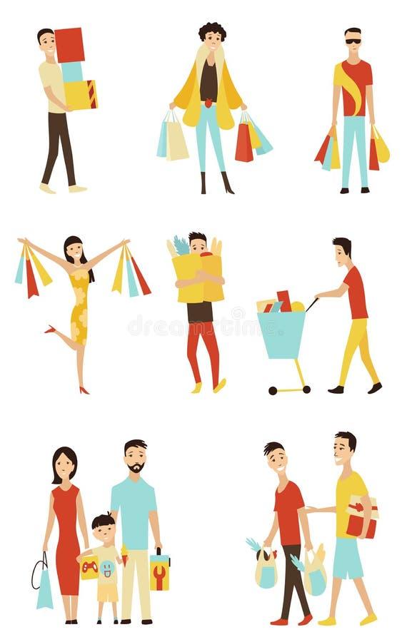 Люди покупок мультфильма вектора с сумками установили продажу в элементе концепции магазина иллюстрация вектора