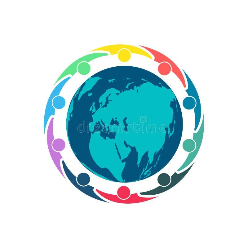 Люди по всему миру, люди группы из десяти в круге, держа руки Работники саммита встречают в такой же комнате силы иллюстрация вектора