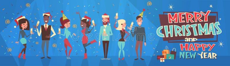 Люди празднуют с Рождеством Христовым и счастливую концепцию партии Eve праздника людей Нового Года и шляп Санты женской одежды иллюстрация штока