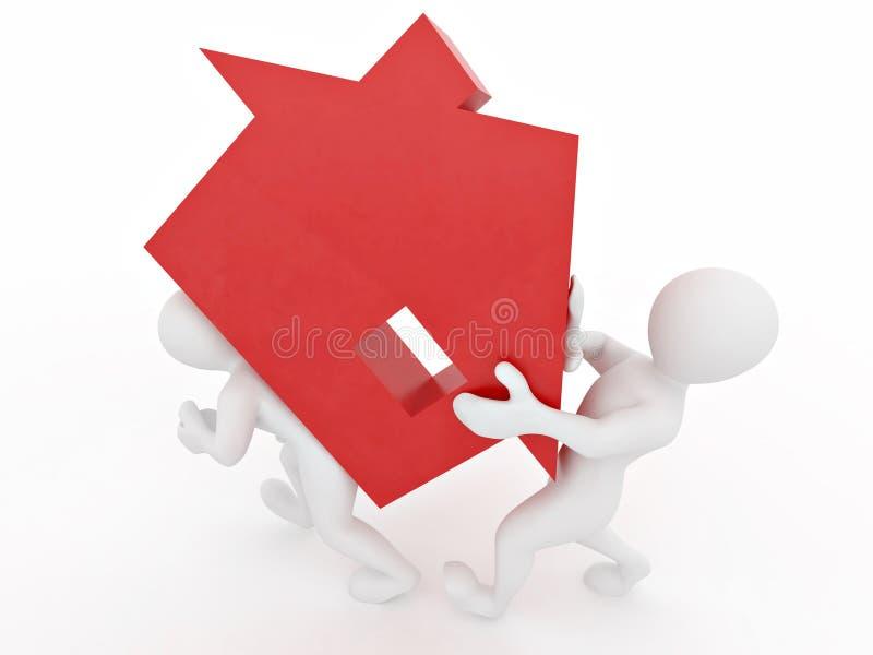 люди предпосылки изолированные домом белые иллюстрация вектора