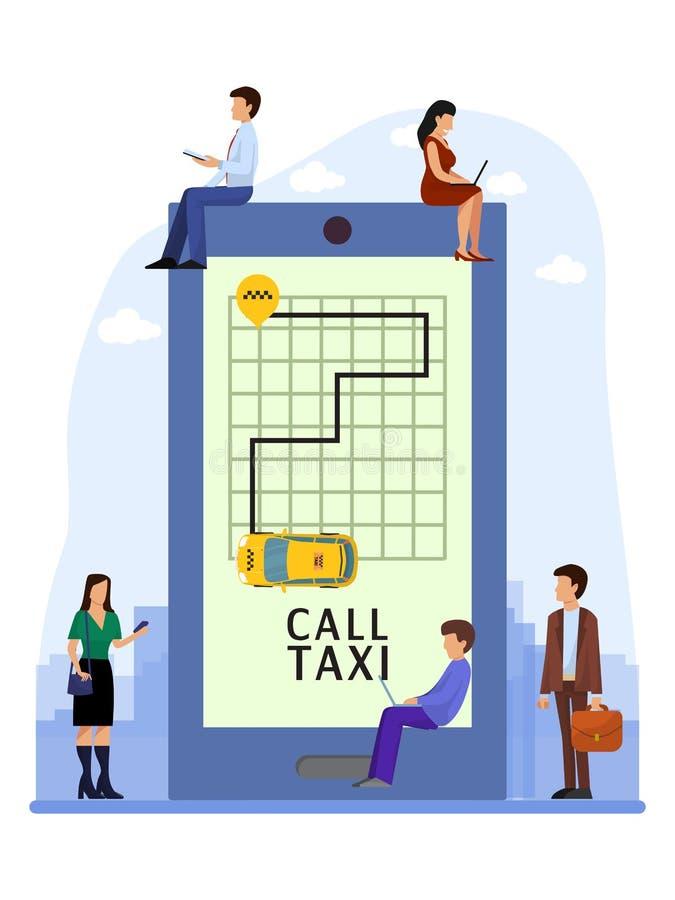 Люди применения такси онлайн мобильные приказывают обслуживание такси с иллюстрацией вектора телефона Положение транспорта движен иллюстрация штока