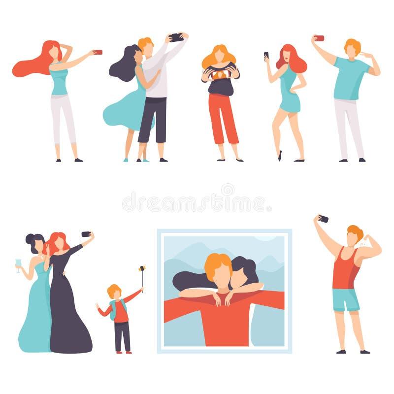 Люди принимая фото Selfie на смартфонах наборе, молодых женщинах и людях делая фото или видео для социальных средств массовой инф иллюстрация штока