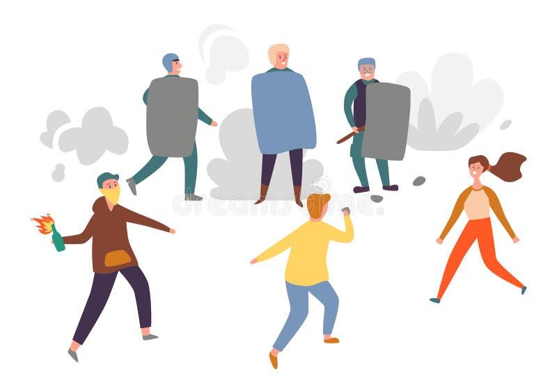 Люди протестуют против набора символов силы политики Трудовые права поражают выраженность экрана удерживания группы подростка иллюстрация вектора