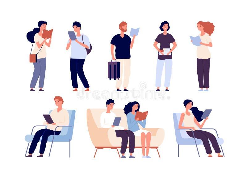 Люди прочитали Книги чтения людей сидят на стуле в фестивале книги bookstore Студенты изучая в изолированном векторе библиотеки иллюстрация вектора
