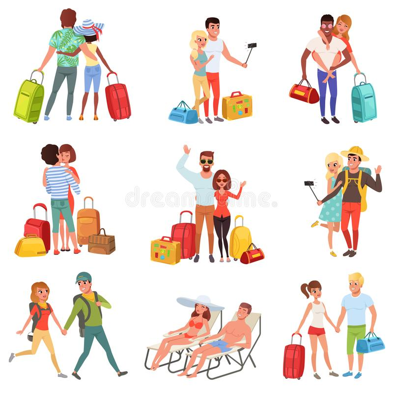 Люди путешествуя комплект, пара семьи с багажом на каникулах vector иллюстрации на белой предпосылке иллюстрация штока