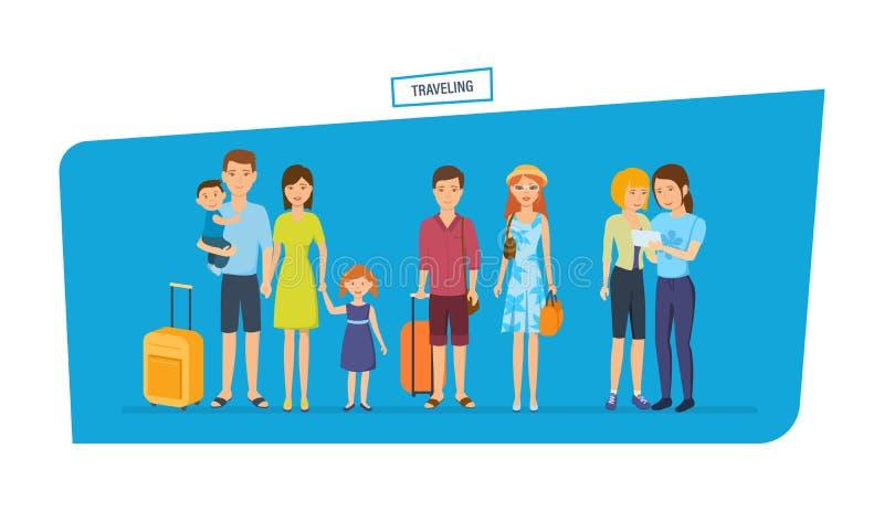 Люди путешествуя концепция Путешествующ семья, путешествов совместно иллюстрация штока