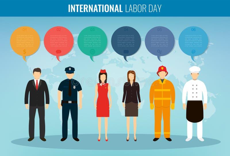 Люди различных занятий Профессии установленные с infographic элементами Международный День Трудаа вектор иллюстрация штока