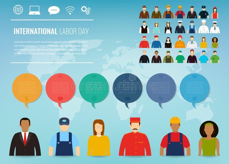 Люди различных занятий Профессии установленные с infographic элементами Международный День Трудаа вектор бесплатная иллюстрация