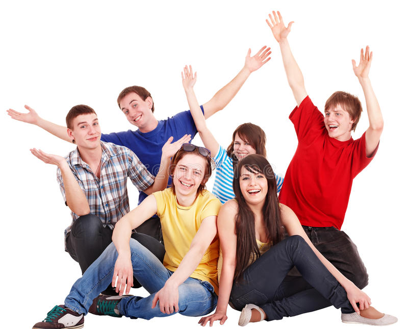 люди руки группы счастливые поднимают детенышей стоковые фото