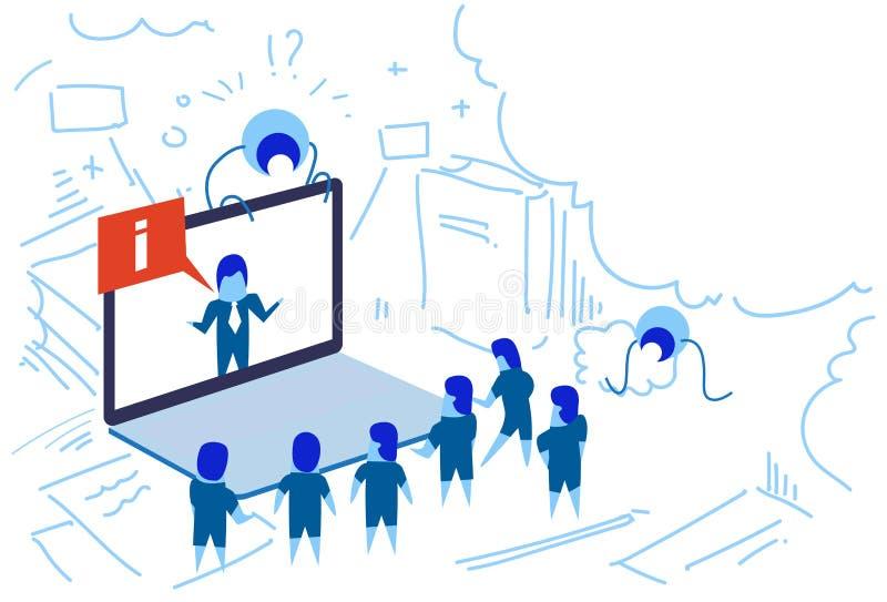 Люди семинара пузыря данным по болтовни экрана компьтер-книжки бизнесмена онлайн собирают концепцию связи форума метода мозгового иллюстрация штока