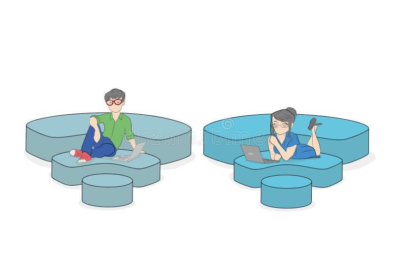 Люди сидят на значках Wi-Fi, связывая с помощью интернету концепция сообщения в сети Ve иллюстрация вектора