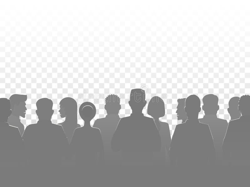Люди силуэта, группа, силуэты толпы также вектор иллюстрации притяжки corel иллюстрация вектора