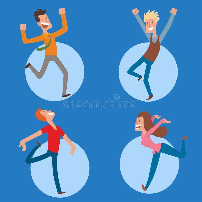 Люди скача в человека вектора партии торжества счастливый скачут характер утехи торжества Жизнерадостное счастье active женщины иллюстрация вектора