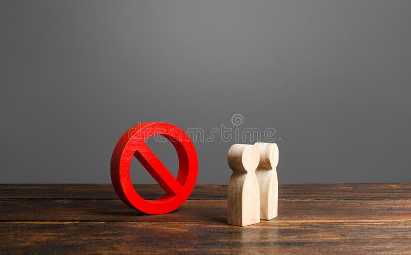 Люди, смотрящие на красный запрет, говорят 'НЕТ' запрет, запрет, запрет и запрет Консерватизм, неправильное понимание Законы стоковое изображение rf