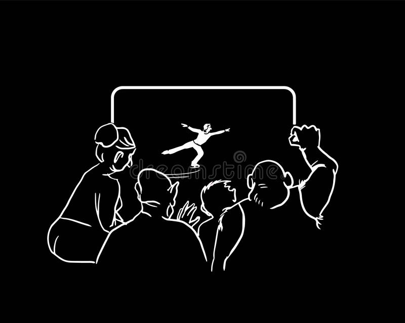 Люди смотря фигурное катание льда на ТВ также вектор иллюстрации притяжки corel бесплатная иллюстрация