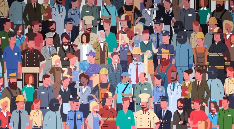 Люди собирают различный комплект занятия, знамя работников гонки смешивания работников иллюстрация штока