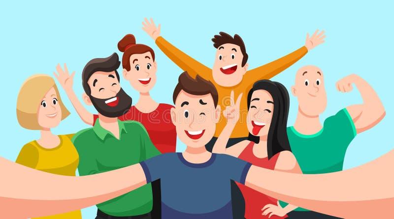 Люди собирают selfie Дружелюбный парень делает фото группы с усмехаясь друзьями на камере смартфона в мультфильме вектора рук бесплатная иллюстрация