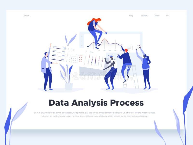 Люди строят приборную панель и взаимодействуют с диаграммами Анализ данных, и ситуации офиса Шаблон страницы посадки иллюстрация вектора