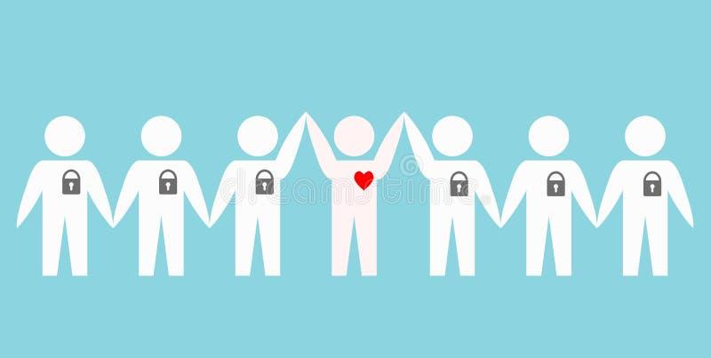 Люди с запертыми сердцами над голубой предпосылкой, бедой вектора запаса иллюстрация штока