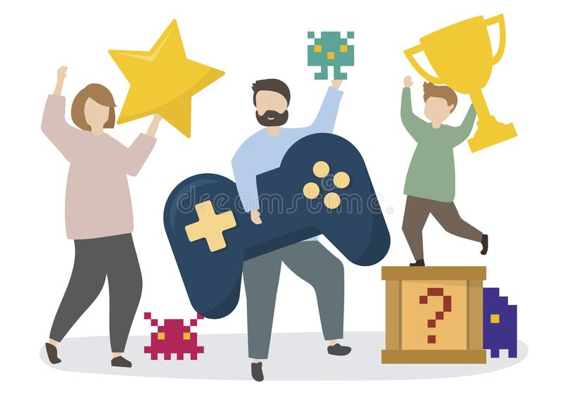 Люди с иллюстрацией значков игры иллюстрация вектора
