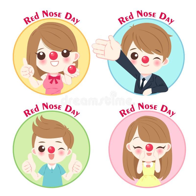 Люди с красным днем носа бесплатная иллюстрация