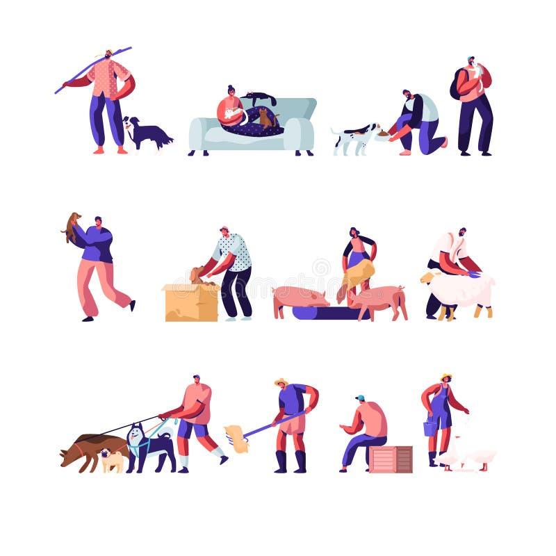 Люди с набором любимцев и домашних животных Характеры кормят скотин, работу сельского хозяйства, режа овцу, подготавливают сено д иллюстрация штока
