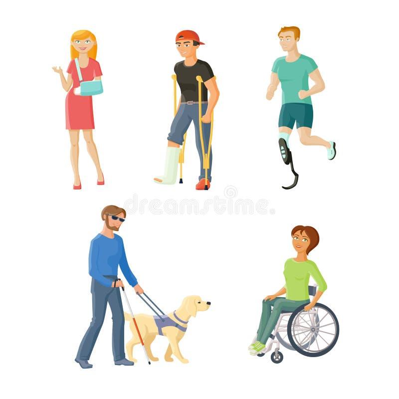 Люди с повреждают, травмы и инвалидность иллюстрация вектора