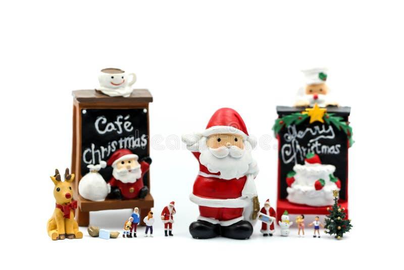 Люди с Рождеством Христовым и счастливого Нового Года миниатюрные: Дети w стоковое изображение