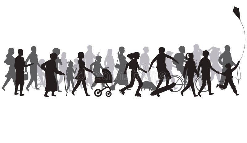 Люди толпятся силуэт Группа в составе человек с тенями идет Семья и дети, пара совместно, вектор велосипеда иллюстрация штока