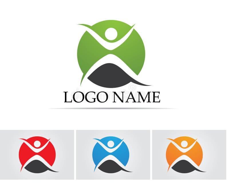 Люди успеха здоровья заботят шаблон логотипа и символов стоковые изображения