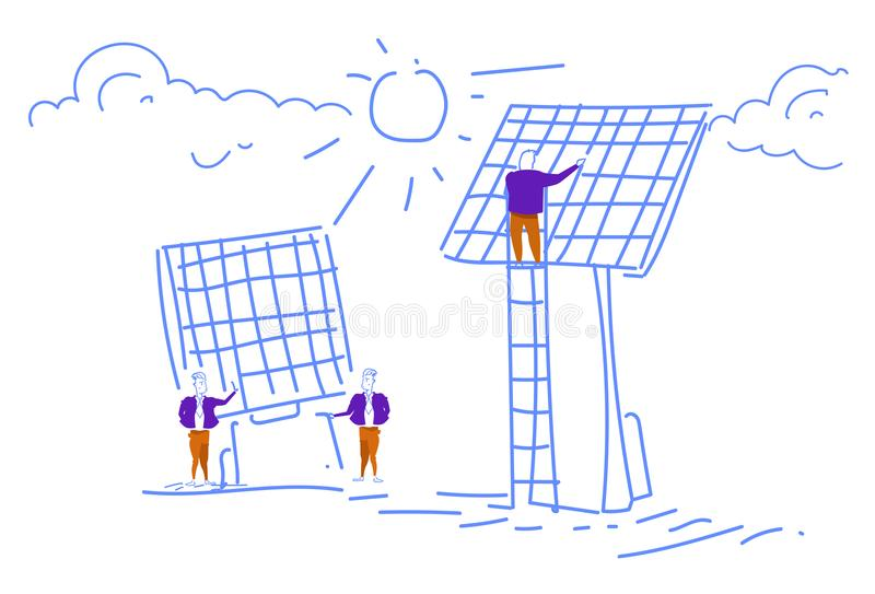 Люди устанавливая команду дела ресурса альтернативной энергии панели солнечных батарей работая отростчатый эскиз концепции doodle иллюстрация штока