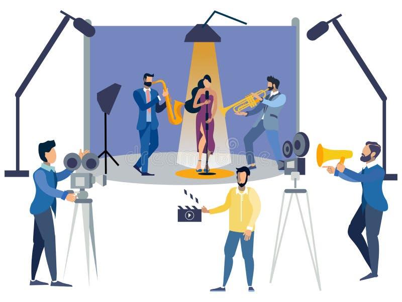 Люди фильма установленные плоско r Растр мультфильма плоский иллюстрация штока