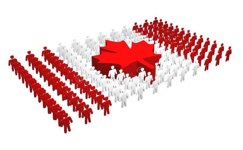 люди флага Канады канадские иллюстрация вектора