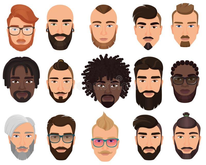 Люди хипстеров стильные бородатые со стилями причесок другого цвета, усиками, бородами изолировали бесплатная иллюстрация