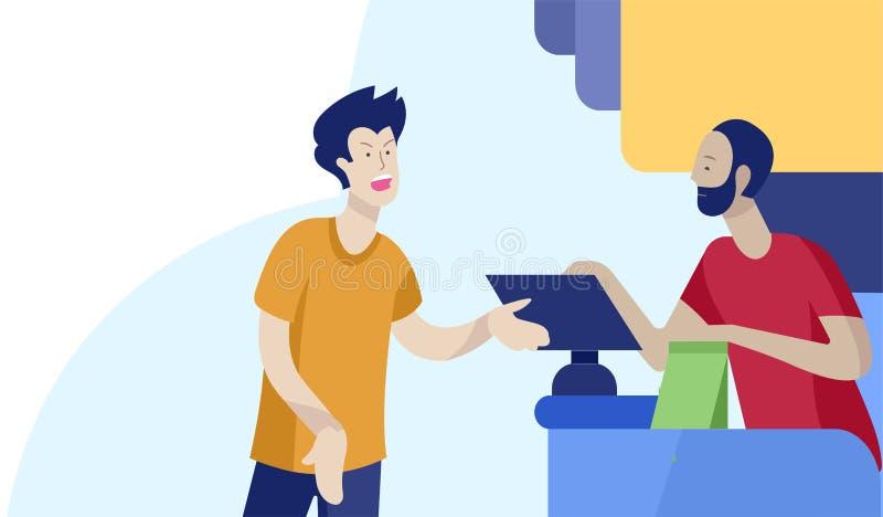 Люди ходя по магазинам в супермаркете Женщина в супермаркете с кассиром, где купить концепцию клиента и продавца иллюстрация штока