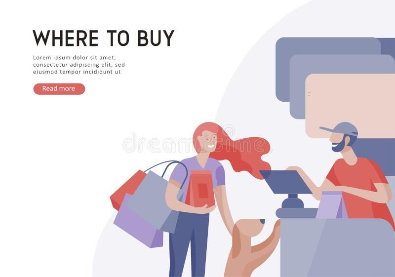 Люди ходя по магазинам в супермаркете Женщина в супермаркете с кассиром, где купить концепцию клиента и продавца иллюстрация вектора