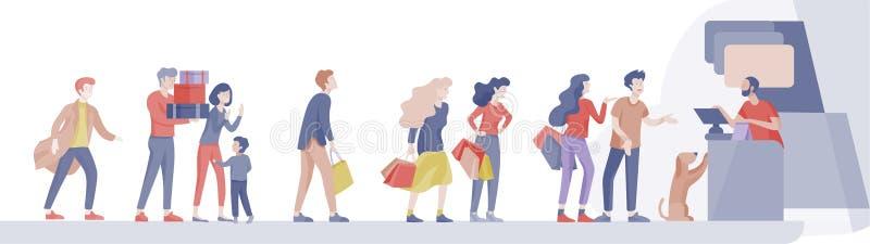 Люди ходя по магазинам в супермаркете Женщина в супермаркете с кассиром, где купить концепцию клиента и продавца бесплатная иллюстрация