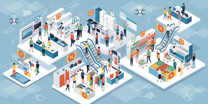 Люди ходя по магазинам совместно на супермаркете и увеличенном realit иллюстрация вектора