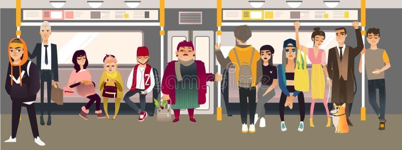 Люди шаржа вектора в подземном поезде иллюстрация вектора