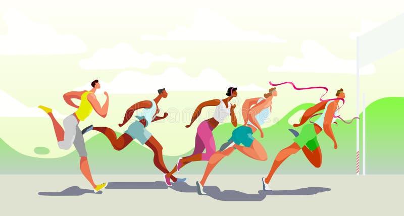 Люди Dinamic бежать Победитель Конкуренция спорт на воздухе Бег марафона r EPS10 иллюстрация штока