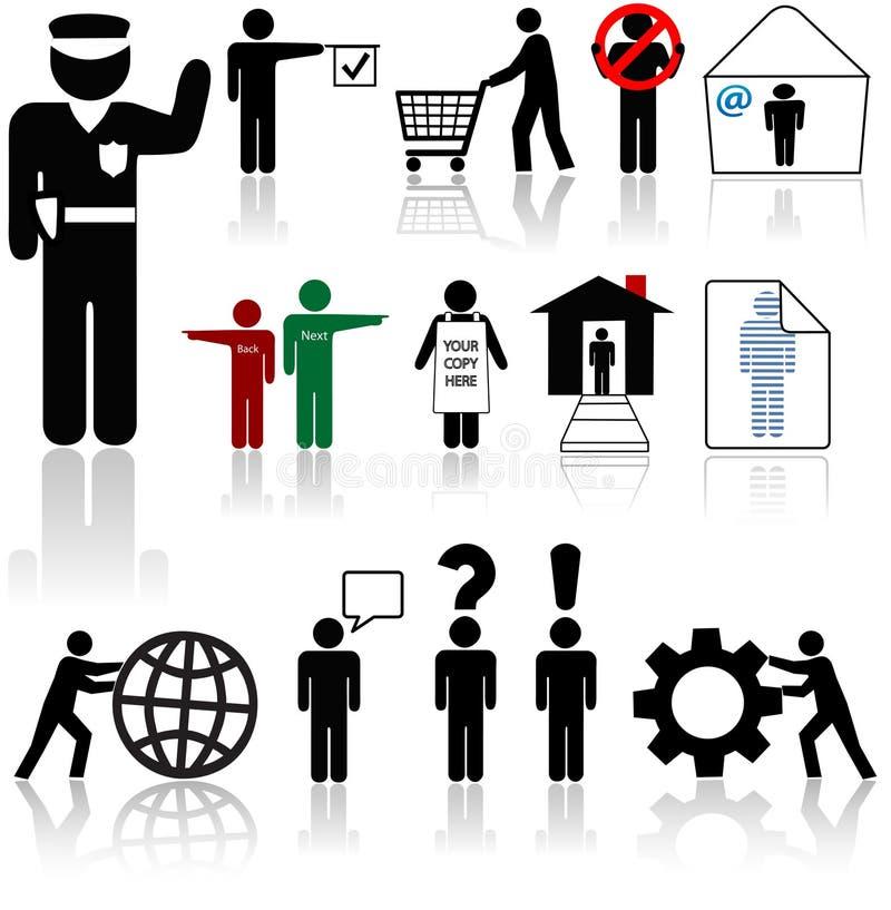 людские символы людей икон иллюстрация вектора