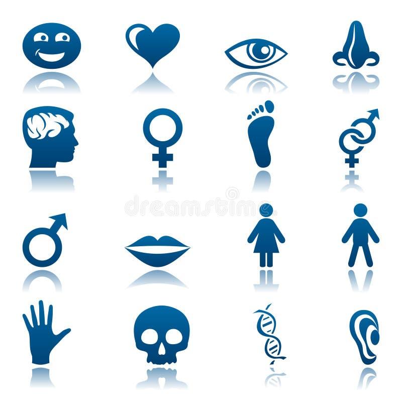 людской комплект иконы иллюстрация вектора