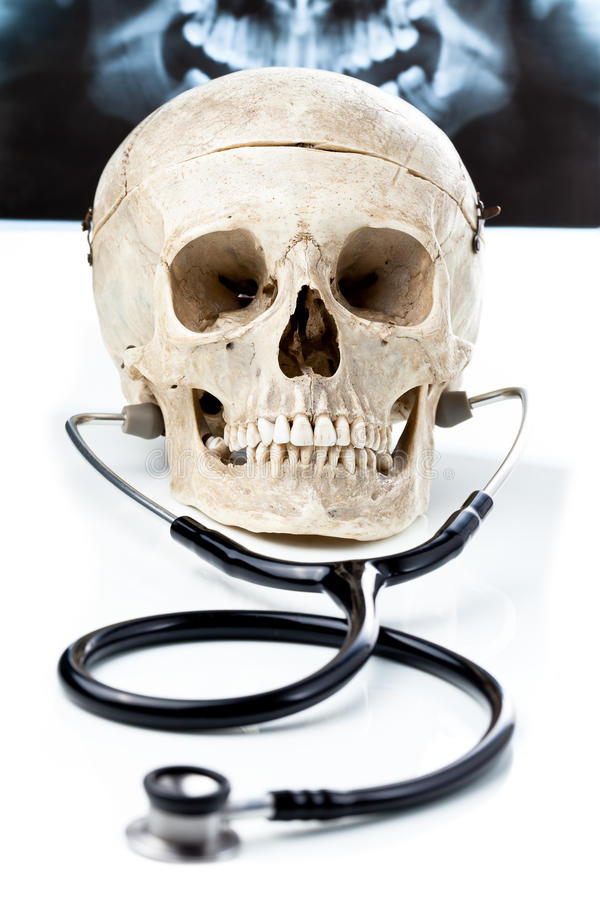 людской стетоскоп черепа стоковая фотография