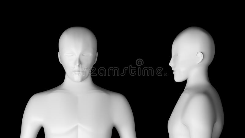 людск Модель Wireframe на черной предпосылке, искусственной бесплатная иллюстрация