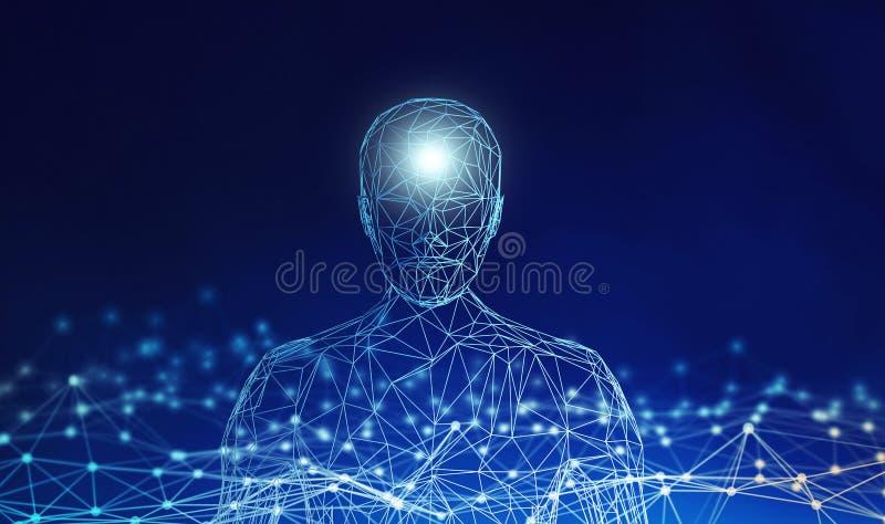 людск Модель Wireframe с соединением выравнивается на голубой предпосылке иллюстрация вектора