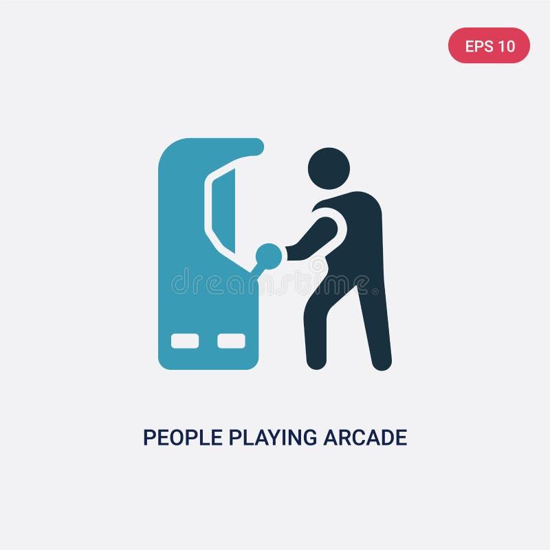 2 люд цвета играя значок вектора видеоигры от рекреационной концепции игр изолированные голубые люди играя вектор видеоигры иллюстрация вектора