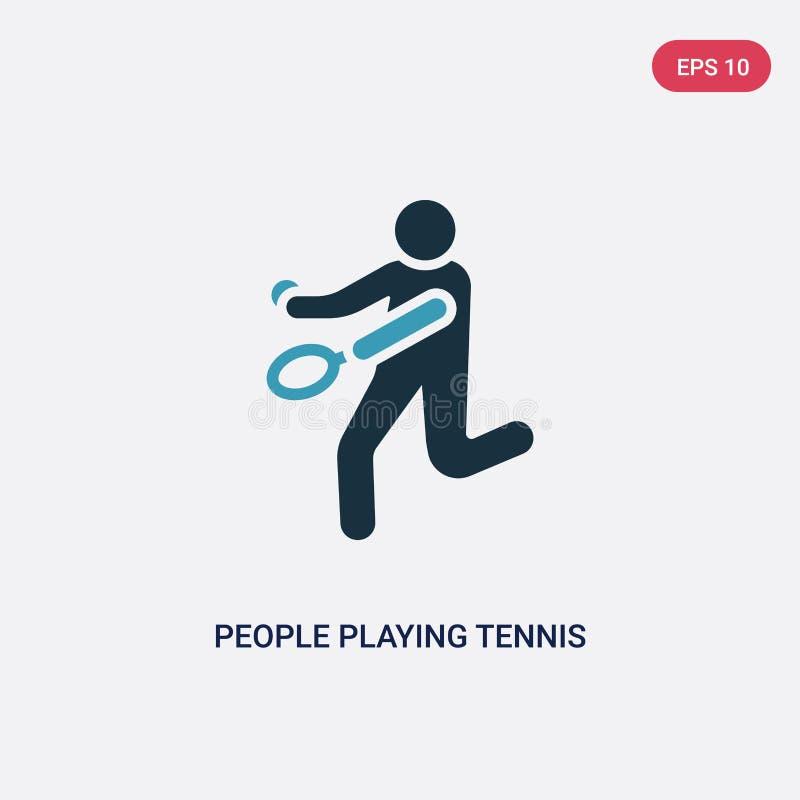 2 люд цвета играя значок вектора тенниса от рекреационной концепции игр изолированные голубые люди играя знак вектора тенниса иллюстрация штока