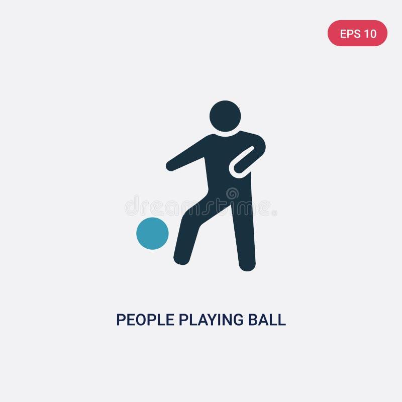 2 люд цвета играя значок вектора шарика от рекреационной концепции игр изолированные голубые люди играя символ знака вектора шари бесплатная иллюстрация